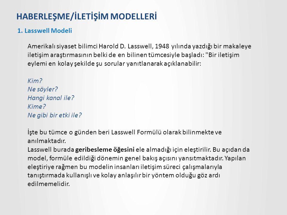 HABERLEŞME/İLETİŞİM MODELLERİ 1.Lasswell Modeli Amerikalı siyaset bilimci Harold D.