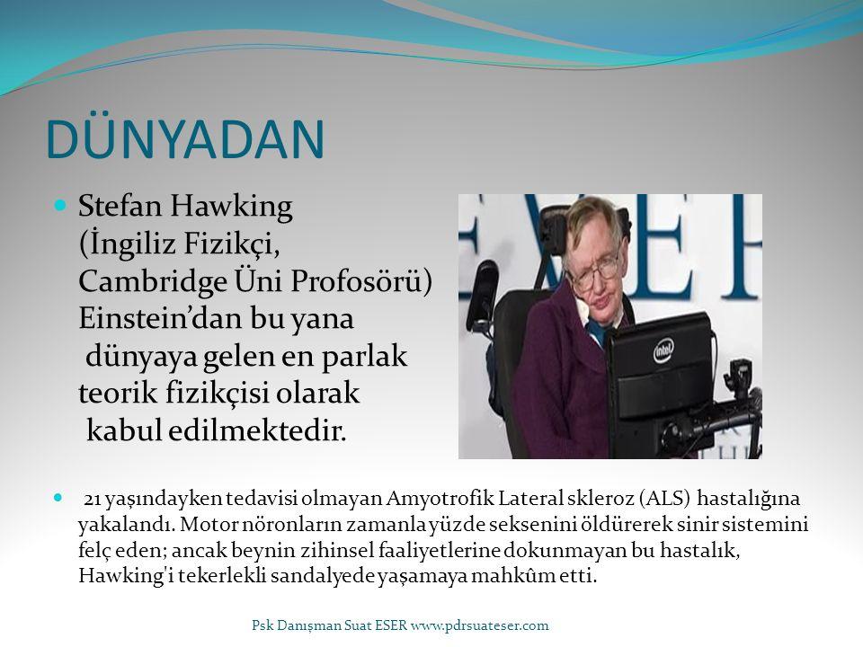 DÜNYADAN Stefan Hawking (İngiliz Fizikçi, Cambridge Üni Profosörü) Einstein'dan bu yana dünyaya gelen en parlak teorik fizikçisi olarak kabul edilmekt