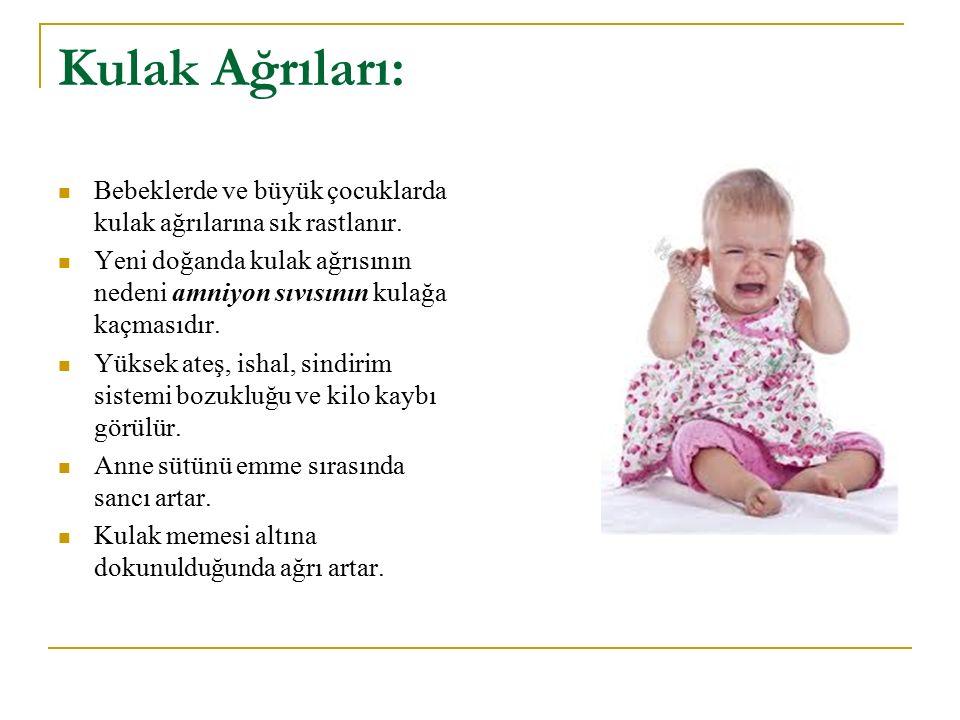 Kulak Ağrıları: Bebeklerde ve büyük çocuklarda kulak ağrılarına sık rastlanır. Yeni doğanda kulak ağrısının nedeni amniyon sıvısının kulağa kaçmasıdır