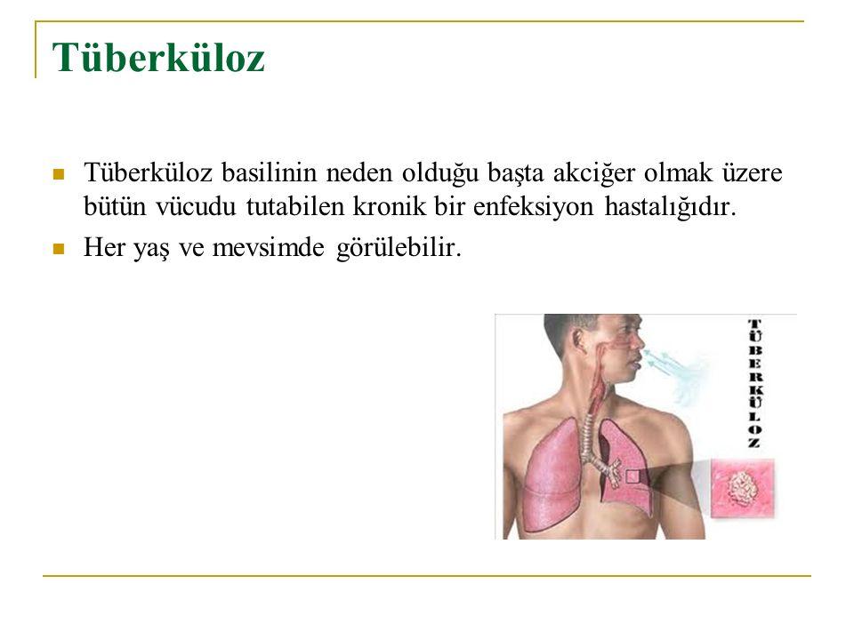 Tüberküloz Tüberküloz basilinin neden olduğu başta akciğer olmak üzere bütün vücudu tutabilen kronik bir enfeksiyon hastalığıdır. Her yaş ve mevsimde