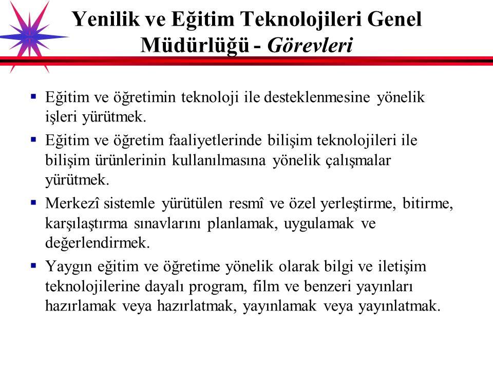 Yenilik ve Eğitim Teknolojileri Genel Müdürlüğü (MEB) Tarihçesi:  Öğretici Filmler Merkezi (ÖFM): 1951  Film Radyo Grafik Merkezi (FRGM): 1962  Film-Radyo ve Televizyonla Eğitim Merkezi (FRTEM): 1968  Bilgisayar Hizmetleri ve Eğitim Genel Müdürlüğü: 1992  Eğitim Teknolojileri Genel Müdürlüğü (EĞİTEK): 1998  Yenilik ve Eğitim Teknolojileri Genel Müdürlüğü (YEĞİTEK): 2011 Eğitim Teknoloji İle İlgili Birimler