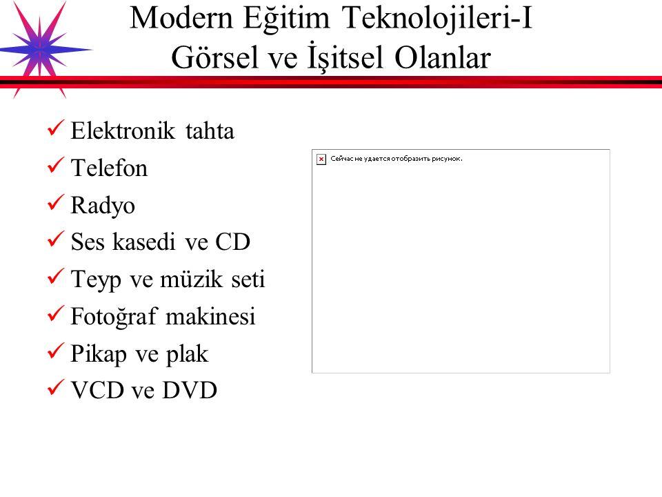 Yazılı materyaller (Kitap, dergi vs.) Grafikler Model ve numuneler Resimler Poster ve afişler Gazete küpürleri Karton faaliyetleri Maketler Klasik Eğitim Teknolojileri-II Görsel Teknolojiler