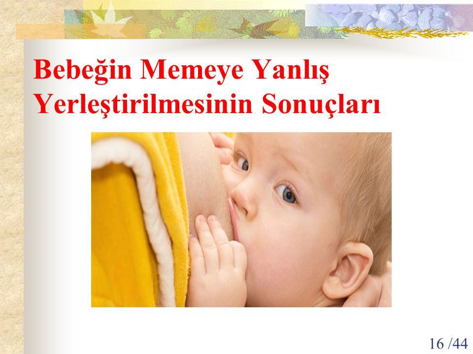 Bebeğin Memeye Yanlış Yerleştirilmesinin Sonuçları 16 /44