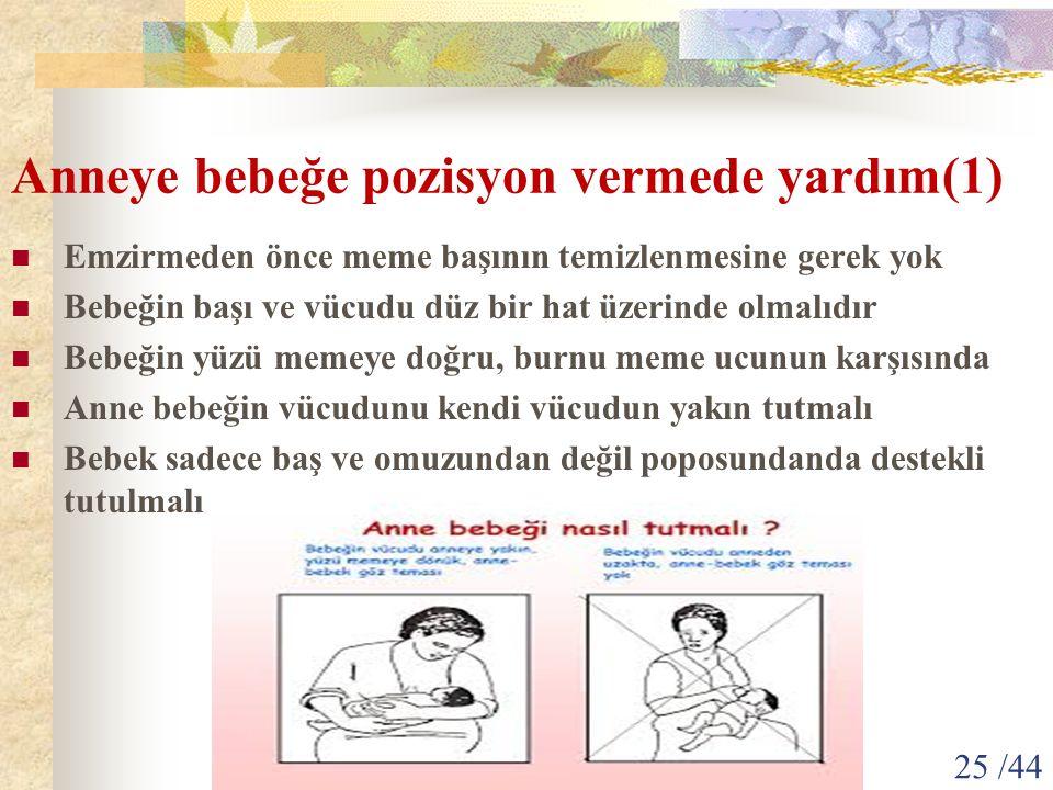 Anneye bebeğe pozisyon vermede yardım(1) Emzirmeden önce meme başının temizlenmesine gerek yok Bebeğin başı ve vücudu düz bir hat üzerinde olmalıdır B