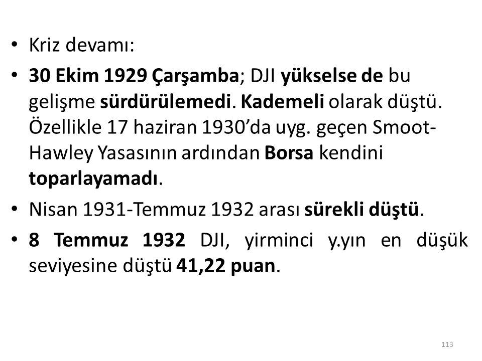 Kriz devamı: 30 Ekim 1929 Çarşamba; DJI yükselse de bu gelişme sürdürülemedi. Kademeli olarak düştü. Özellikle 17 haziran 1930'da uyg. geçen Smoot- Ha