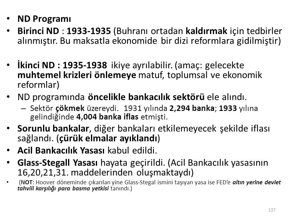 ND Programı Birinci ND : 1933-1935 (Buhranı ortadan kaldırmak için tedbirler alınmıştır. Bu maksatla ekonomide bir dizi reformlara gidilmiştir) İkinci