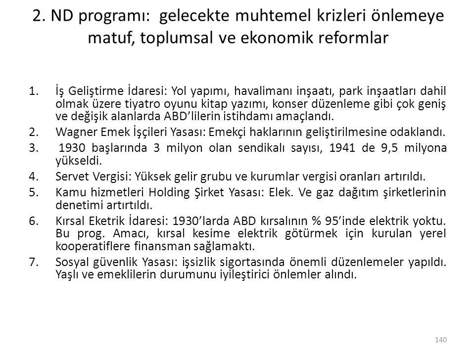 2. ND programı: gelecekte muhtemel krizleri önlemeye matuf, toplumsal ve ekonomik reformlar 1.İş Geliştirme İdaresi: Yol yapımı, havalimanı inşaatı, p