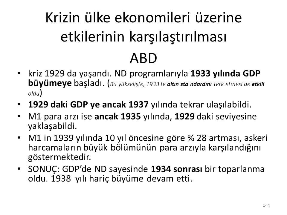 Krizin ülke ekonomileri üzerine etkilerinin karşılaştırılması ABD kriz 1929 da yaşandı. ND programlarıyla 1933 yılında GDP büyümeye başladı. ( Bu yüks