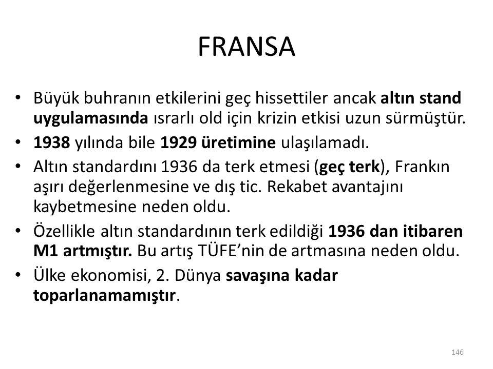 FRANSA Büyük buhranın etkilerini geç hissettiler ancak altın stand uygulamasında ısrarlı old için krizin etkisi uzun sürmüştür. 1938 yılında bile 1929
