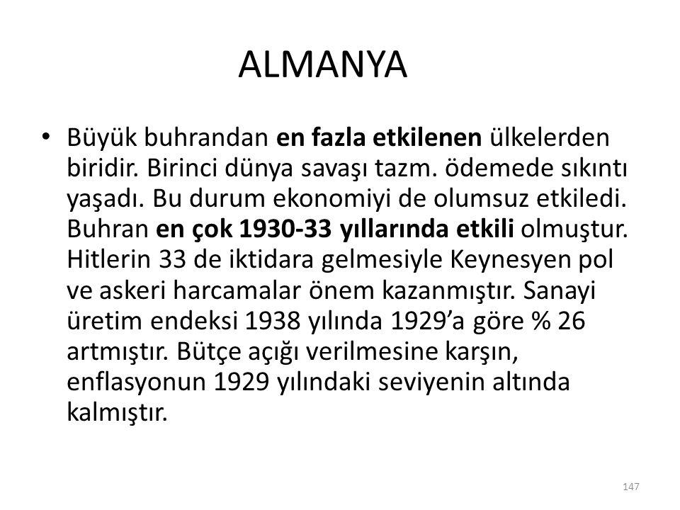 ALMANYA Büyük buhrandan en fazla etkilenen ülkelerden biridir. Birinci dünya savaşı tazm. ödemede sıkıntı yaşadı. Bu durum ekonomiyi de olumsuz etkile