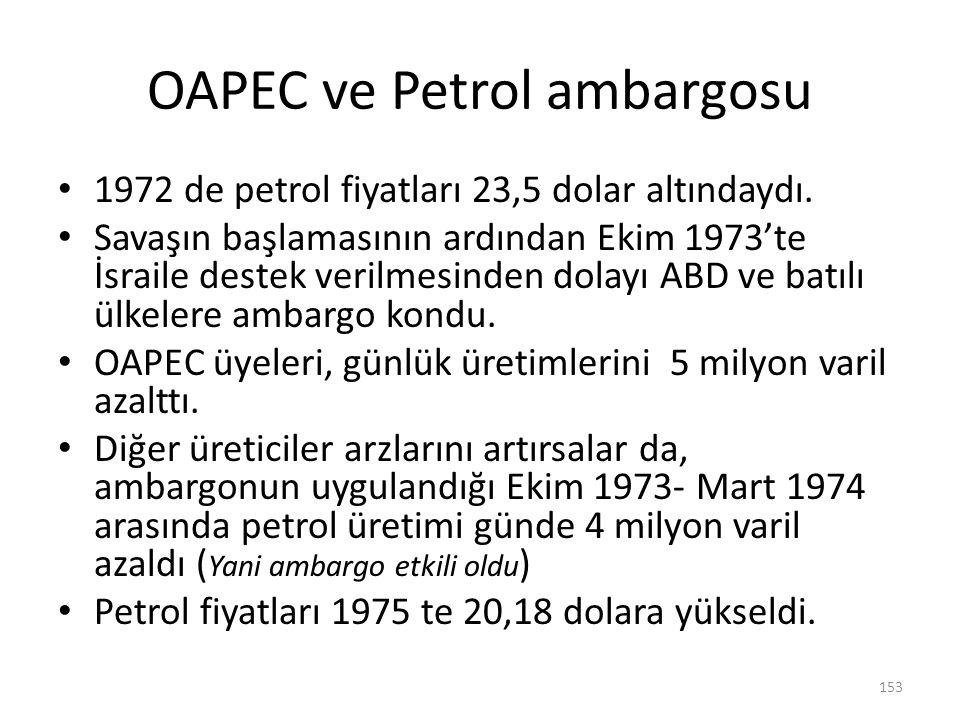 OAPEC ve Petrol ambargosu 1972 de petrol fiyatları 23,5 dolar altındaydı. Savaşın başlamasının ardından Ekim 1973'te İsraile destek verilmesinden dola