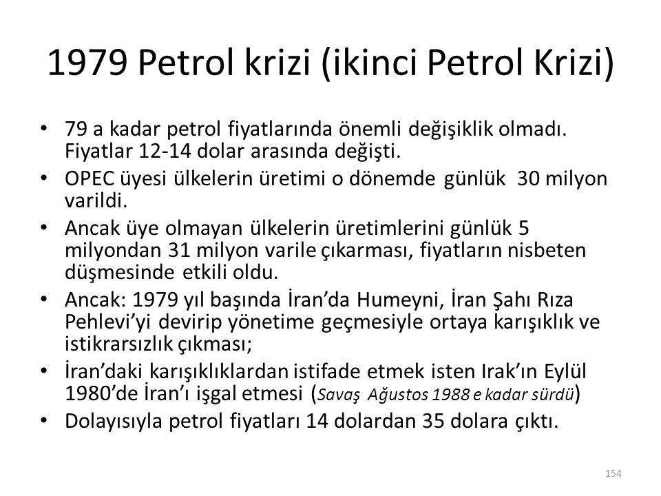 1979 Petrol krizi (ikinci Petrol Krizi) 79 a kadar petrol fiyatlarında önemli değişiklik olmadı. Fiyatlar 12-14 dolar arasında değişti. OPEC üyesi ülk
