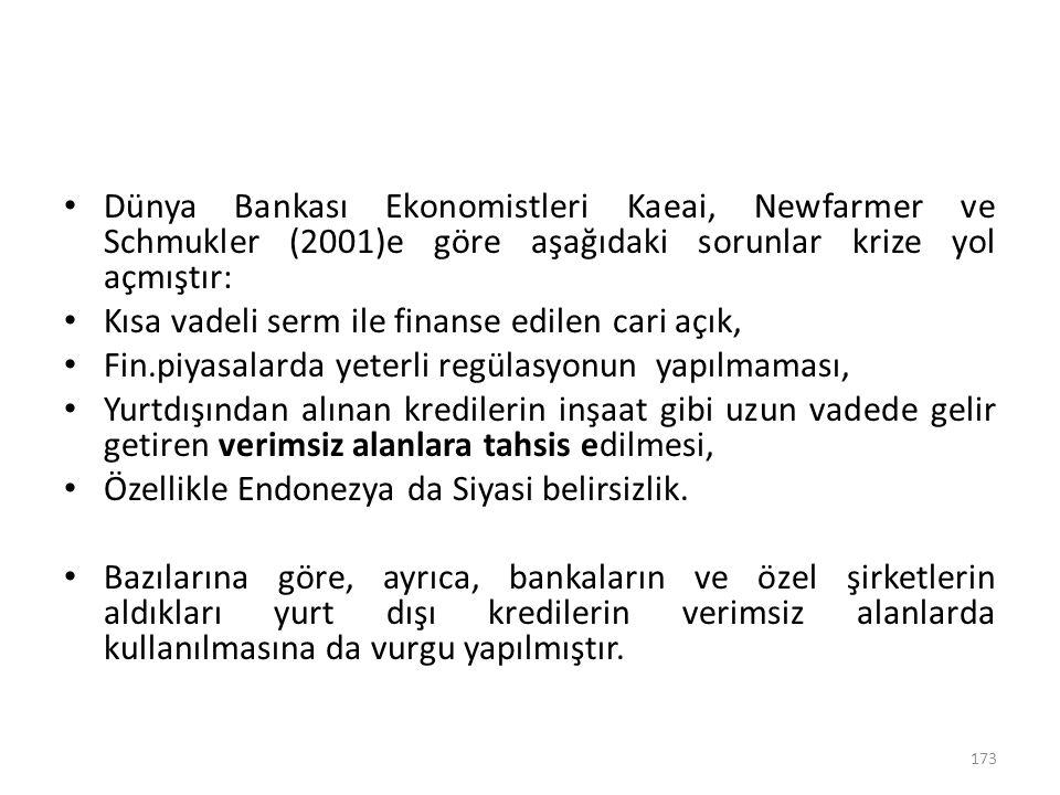 Dünya Bankası Ekonomistleri Kaeai, Newfarmer ve Schmukler (2001)e göre aşağıdaki sorunlar krize yol açmıştır: Kısa vadeli serm ile finanse edilen cari