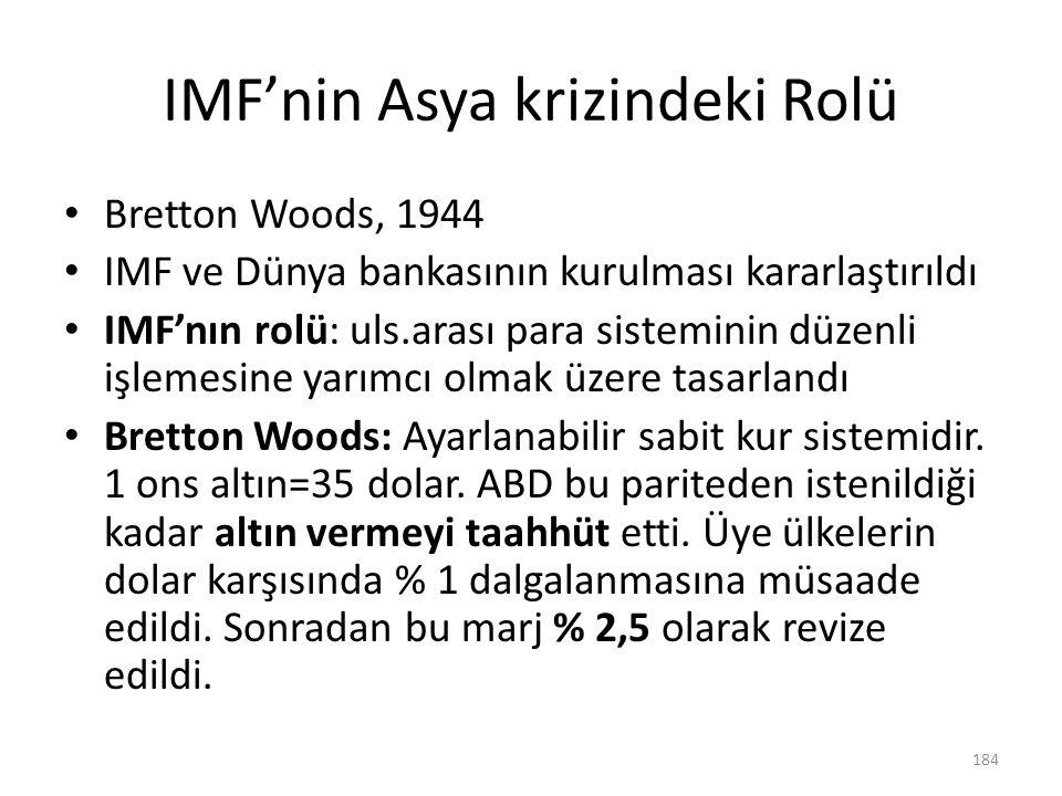 IMF'nin Asya krizindeki Rolü Bretton Woods, 1944 IMF ve Dünya bankasının kurulması kararlaştırıldı IMF'nın rolü: uls.arası para sisteminin düzenli işl