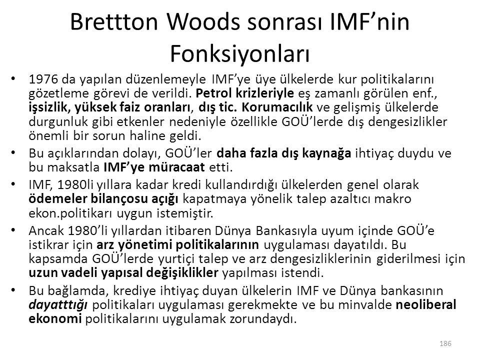 Brettton Woods sonrası IMF'nin Fonksiyonları 1976 da yapılan düzenlemeyle IMF'ye üye ülkelerde kur politikalarını gözetleme görevi de verildi. Petrol