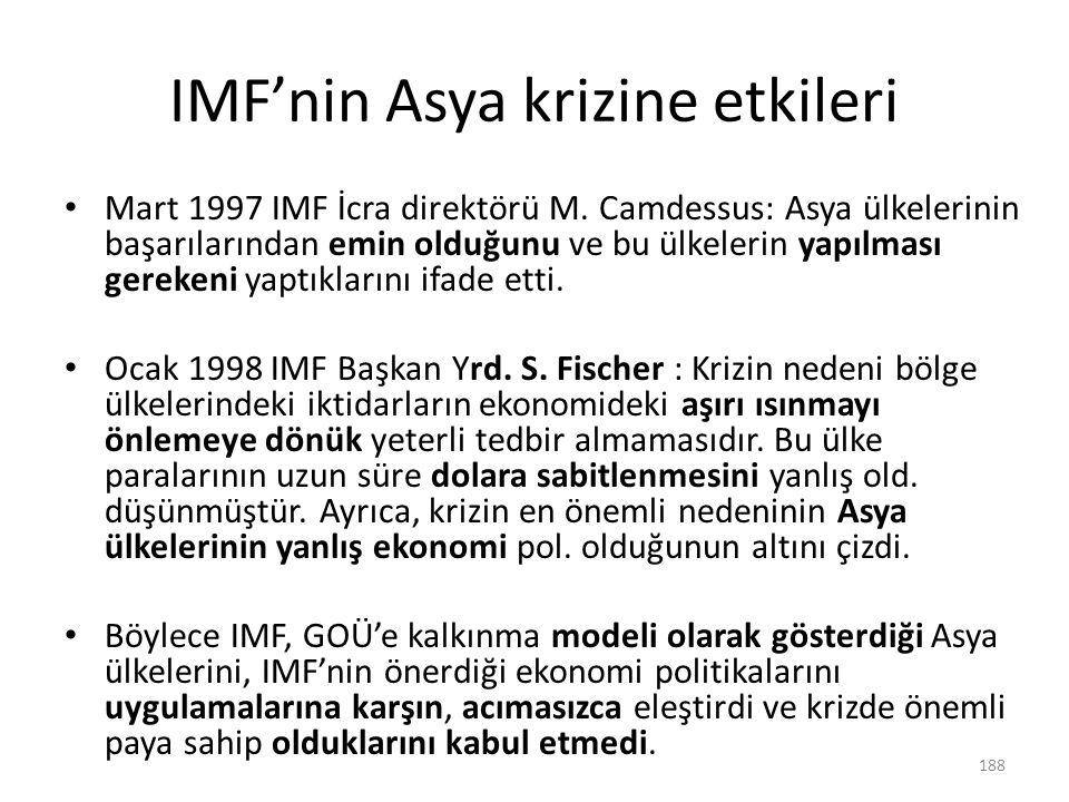 IMF'nin Asya krizine etkileri Mart 1997 IMF İcra direktörü M. Camdessus: Asya ülkelerinin başarılarından emin olduğunu ve bu ülkelerin yapılması gerek