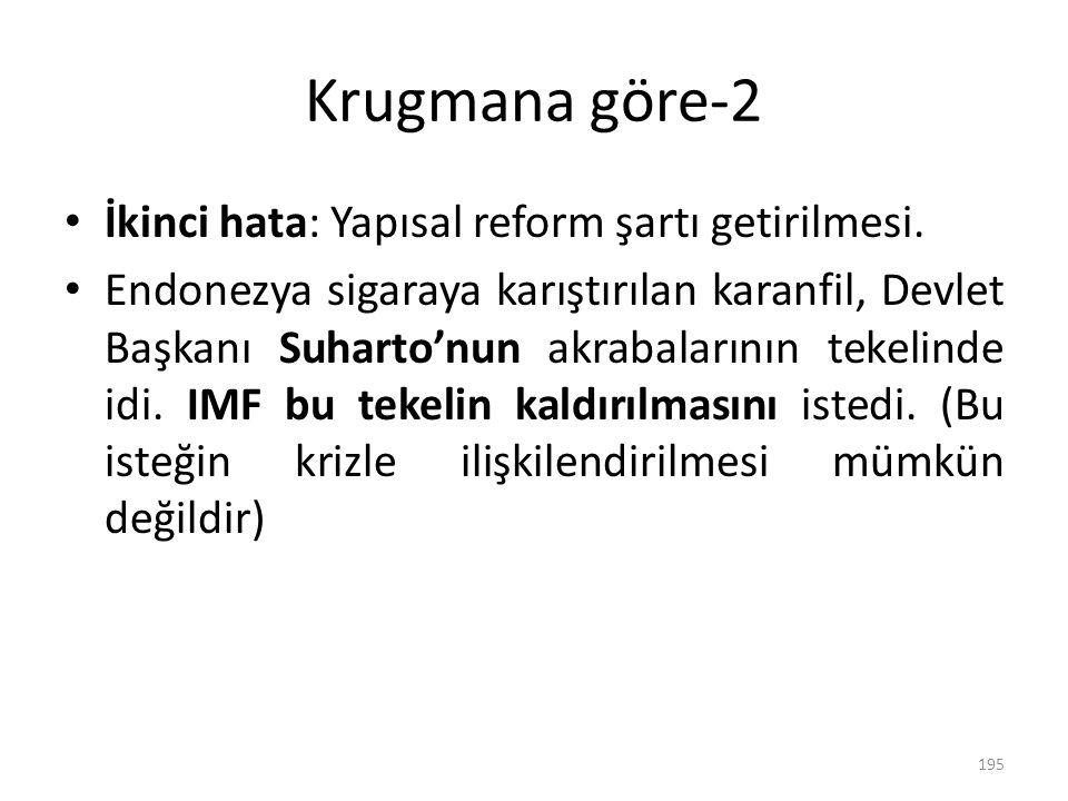 Krugmana göre-2 İkinci hata: Yapısal reform şartı getirilmesi. Endonezya sigaraya karıştırılan karanfil, Devlet Başkanı Suharto'nun akrabalarının teke
