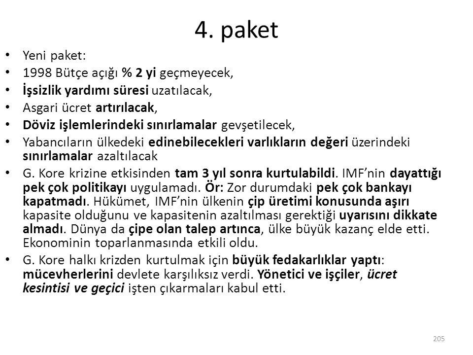 4. paket Yeni paket: 1998 Bütçe açığı % 2 yi geçmeyecek, İşsizlik yardımı süresi uzatılacak, Asgari ücret artırılacak, Döviz işlemlerindeki sınırlamal