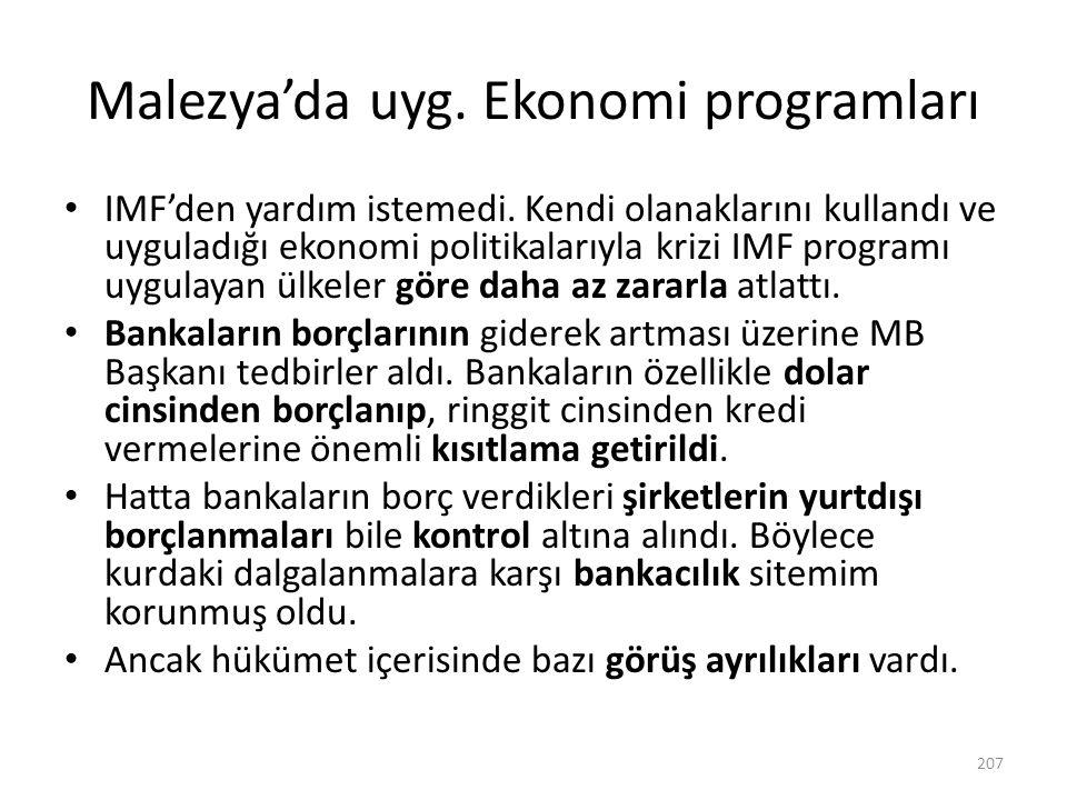 Malezya'da uyg. Ekonomi programları IMF'den yardım istemedi. Kendi olanaklarını kullandı ve uyguladığı ekonomi politikalarıyla krizi IMF programı uygu