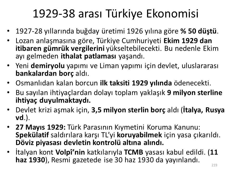 1929-38 arası Türkiye Ekonomisi 1927-28 yıllarında buğday üretimi 1926 yılına göre % 50 düştü. Lozan anlaşmasına göre, Türkiye Cumhuriyeti Ekim 1929 d
