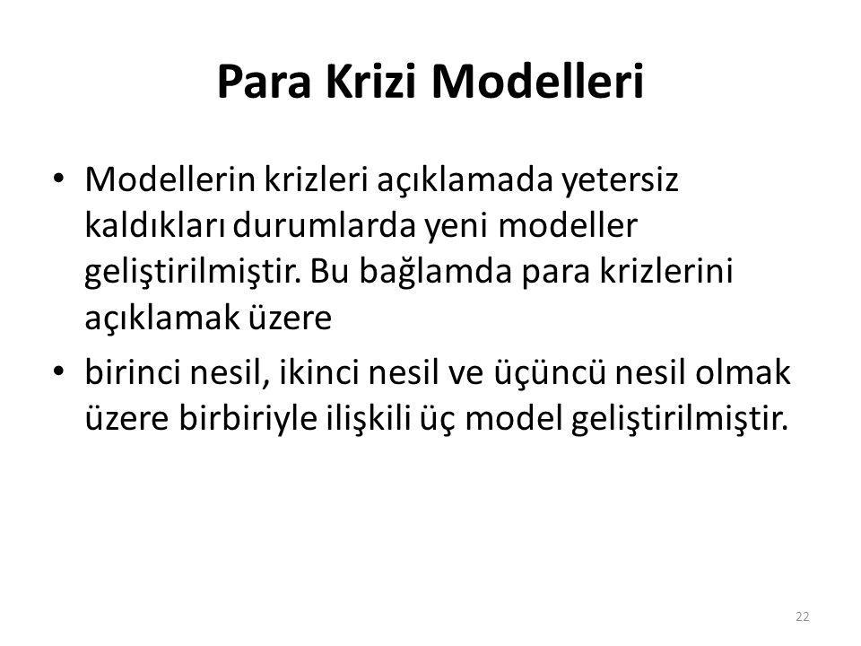 Para Krizi Modelleri Modellerin krizleri açıklamada yetersiz kaldıkları durumlarda yeni modeller geliştirilmiştir. Bu bağlamda para krizlerini açıklam