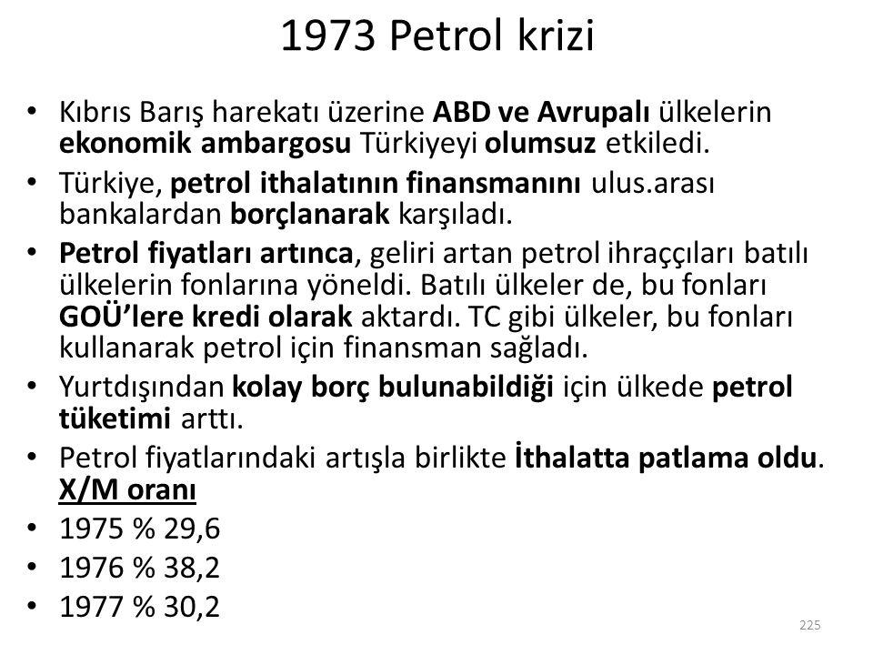 1973 Petrol krizi Kıbrıs Barış harekatı üzerine ABD ve Avrupalı ülkelerin ekonomik ambargosu Türkiyeyi olumsuz etkiledi. Türkiye, petrol ithalatının f