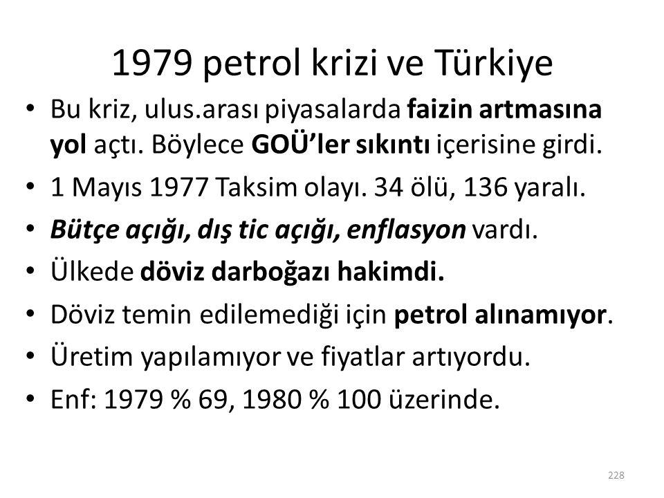 1979 petrol krizi ve Türkiye Bu kriz, ulus.arası piyasalarda faizin artmasına yol açtı. Böylece GOÜ'ler sıkıntı içerisine girdi. 1 Mayıs 1977 Taksim o