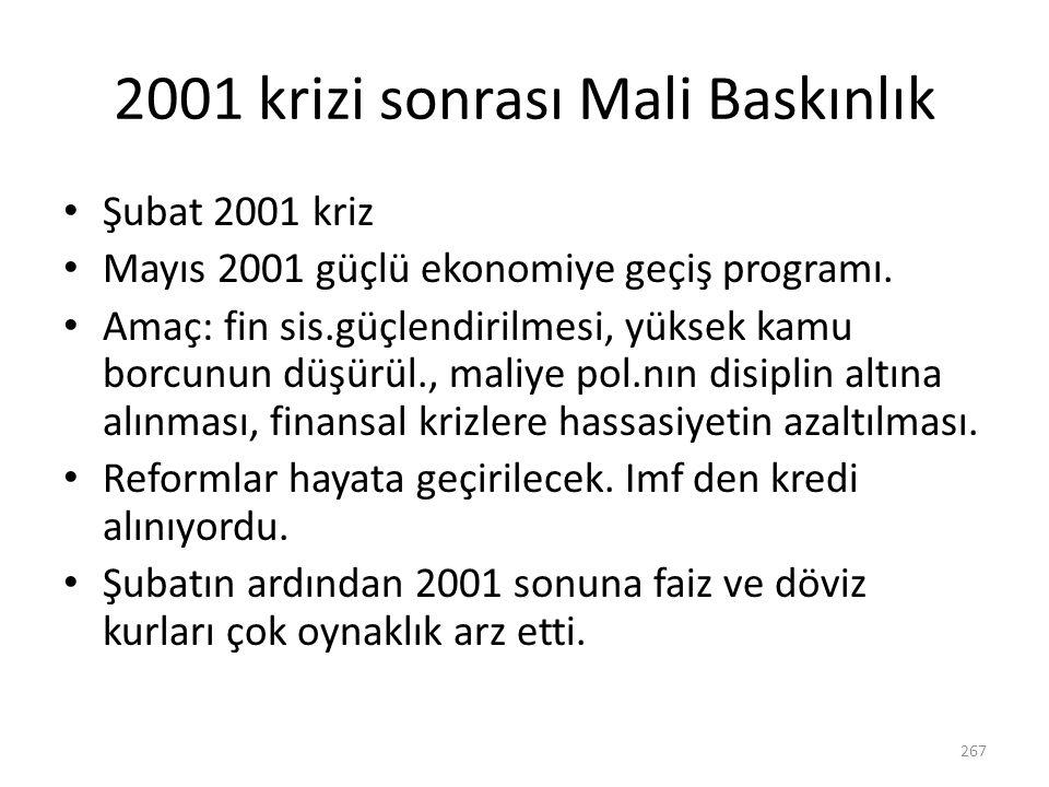 2001 krizi sonrası Mali Baskınlık Şubat 2001 kriz Mayıs 2001 güçlü ekonomiye geçiş programı. Amaç: fin sis.güçlendirilmesi, yüksek kamu borcunun düşür
