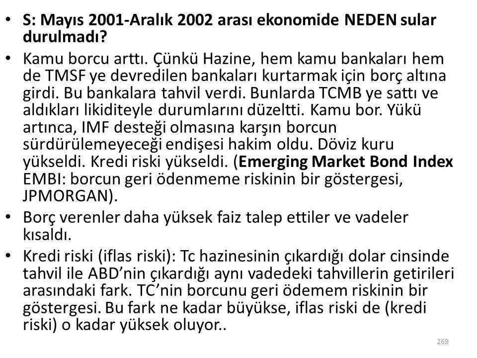 S: Mayıs 2001-Aralık 2002 arası ekonomide NEDEN sular durulmadı? Kamu borcu arttı. Çünkü Hazine, hem kamu bankaları hem de TMSF ye devredilen bankalar