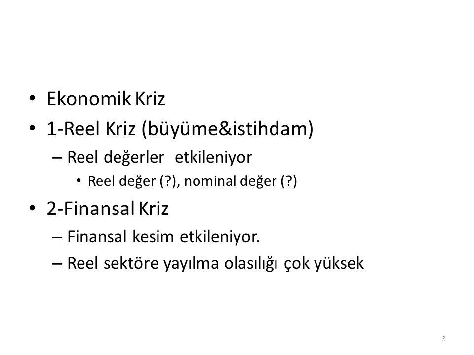 Ekonomik Kriz 1-Reel Kriz (büyüme&istihdam) – Reel değerler etkileniyor Reel değer (?), nominal değer (?) 2-Finansal Kriz – Finansal kesim etkileniyor