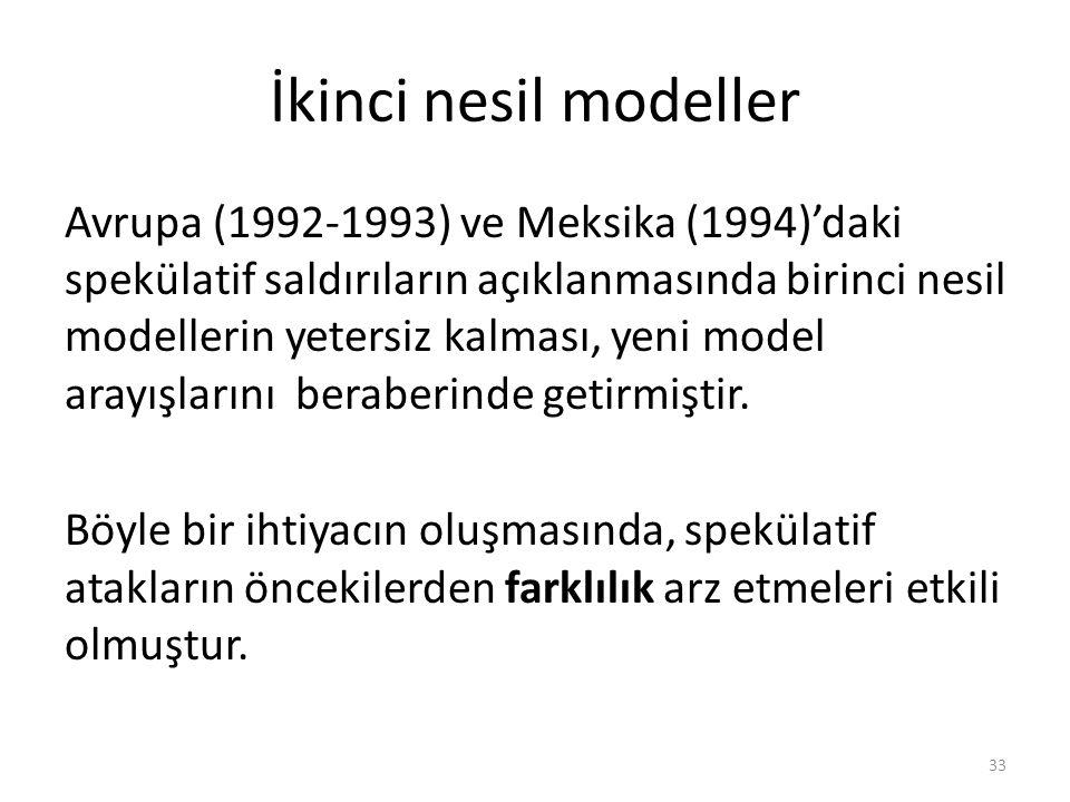 İkinci nesil modeller Avrupa (1992‐1993) ve Meksika (1994)'daki spekülatif saldırıların açıklanmasında birinci nesil modellerin yetersiz kalması, yeni