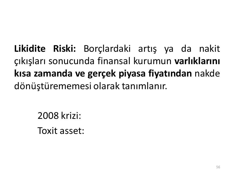 Likidite Riski: Borçlardaki artış ya da nakit çıkışları sonucunda finansal kurumun varlıklarını kısa zamanda ve gerçek piyasa fiyatından nakde dönüştü