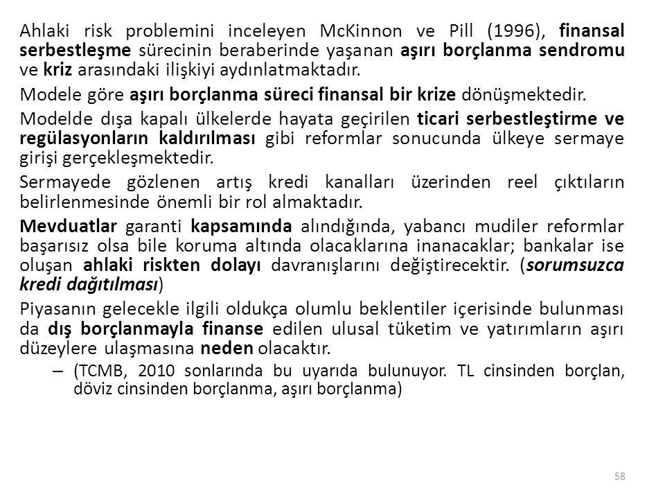 Ahlaki risk problemini inceleyen McKinnon ve Pill (1996), finansal serbestleşme sürecinin beraberinde yaşanan aşırı borçlanma sendromu ve kriz arasınd