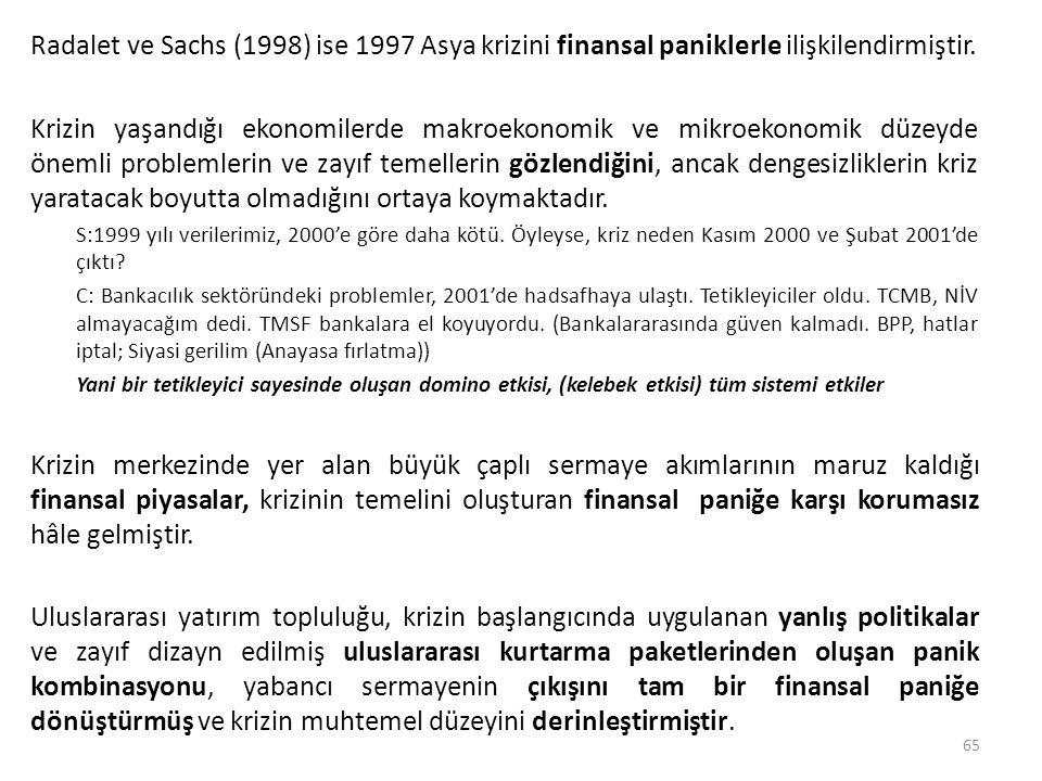 Radalet ve Sachs (1998) ise 1997 Asya krizini finansal paniklerle ilişkilendirmiştir. Krizin yaşandığı ekonomilerde makroekonomik ve mikroekonomik düz