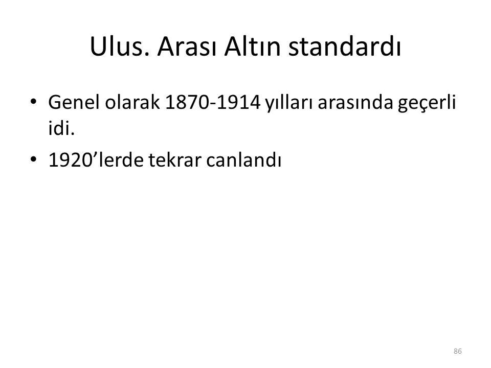 Ulus. Arası Altın standardı Genel olarak 1870-1914 yılları arasında geçerli idi. 1920'lerde tekrar canlandı 86