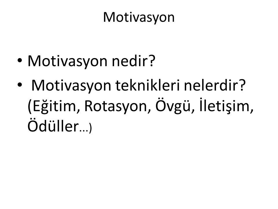 Motivasyon Motivasyon nedir? Motivasyon teknikleri nelerdir? (Eğitim, Rotasyon, Övgü, İletişim, Ödüller...)