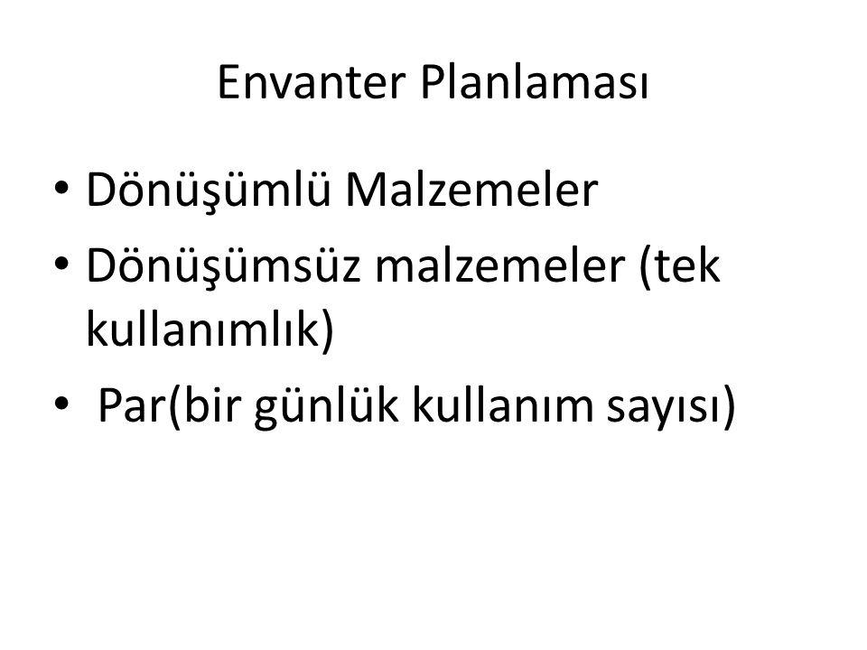 Envanter Planlaması Dönüşümlü Malzemeler Dönüşümsüz malzemeler (tek kullanımlık) Par(bir günlük kullanım sayısı)