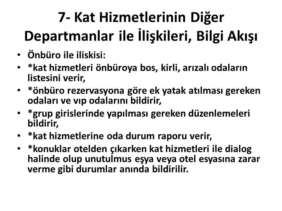 7- Kat Hizmetlerinin Diğer Departmanlar ile İlişkileri, Bilgi Akışı Önbüro ile iliskisi: *kat hizmetleri önbüroya bos, kirli, arızalı odaların listesi