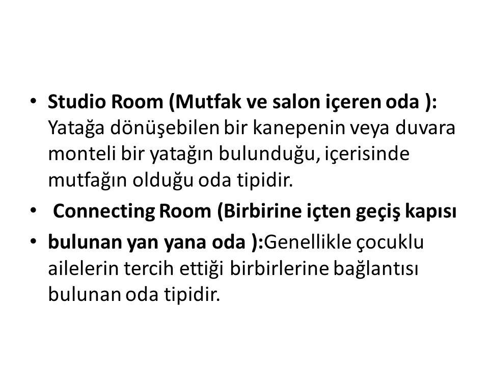 Studio Room (Mutfak ve salon içeren oda ): Yatağa dönüşebilen bir kanepenin veya duvara monteli bir yatağın bulunduğu, içerisinde mutfağın olduğu oda
