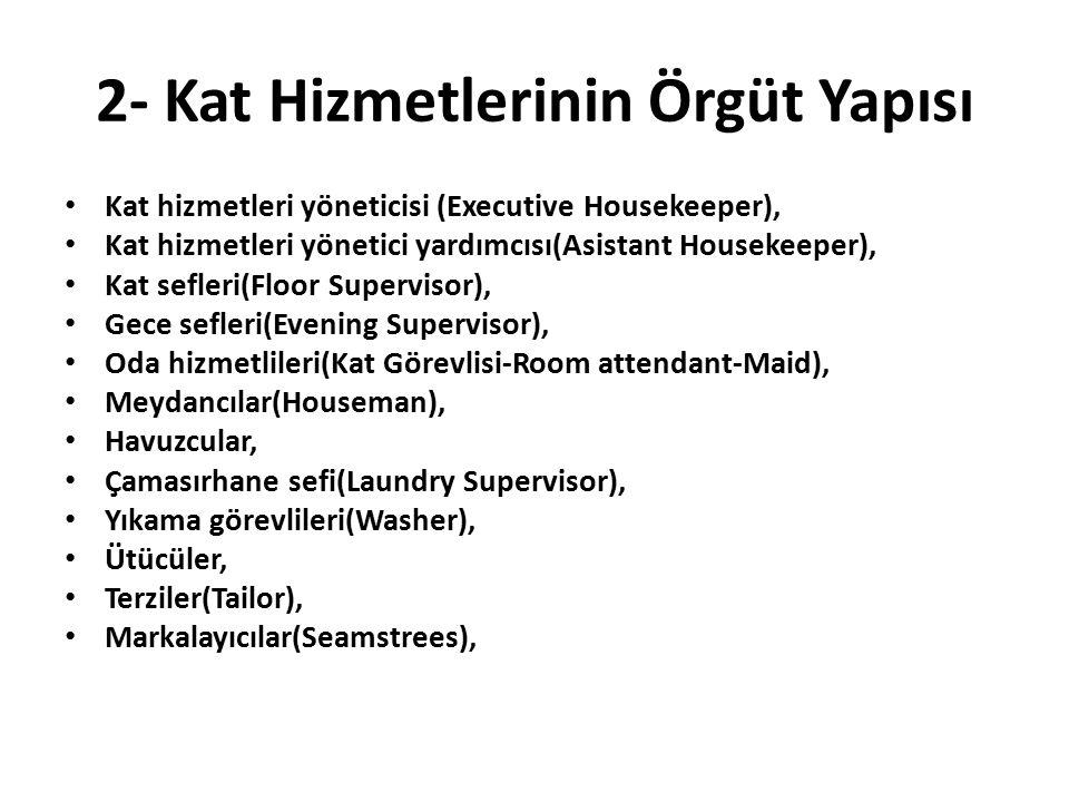 2- Kat Hizmetlerinin Örgüt Yapısı Kat hizmetleri yöneticisi (Executive Housekeeper), Kat hizmetleri yönetici yardımcısı(Asistant Housekeeper), Kat sef