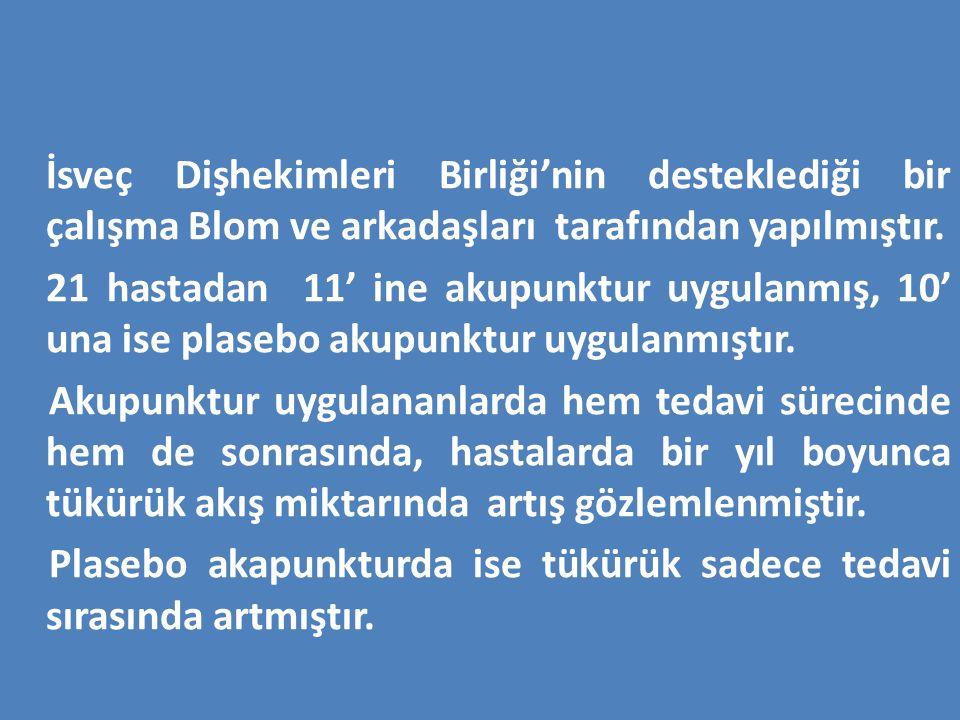 İsveç Dişhekimleri Birliği'nin desteklediği bir çalışma Blom ve arkadaşları tarafından yapılmıştır. 21 hastadan 11' ine akupunktur uygulanmış, 10' una