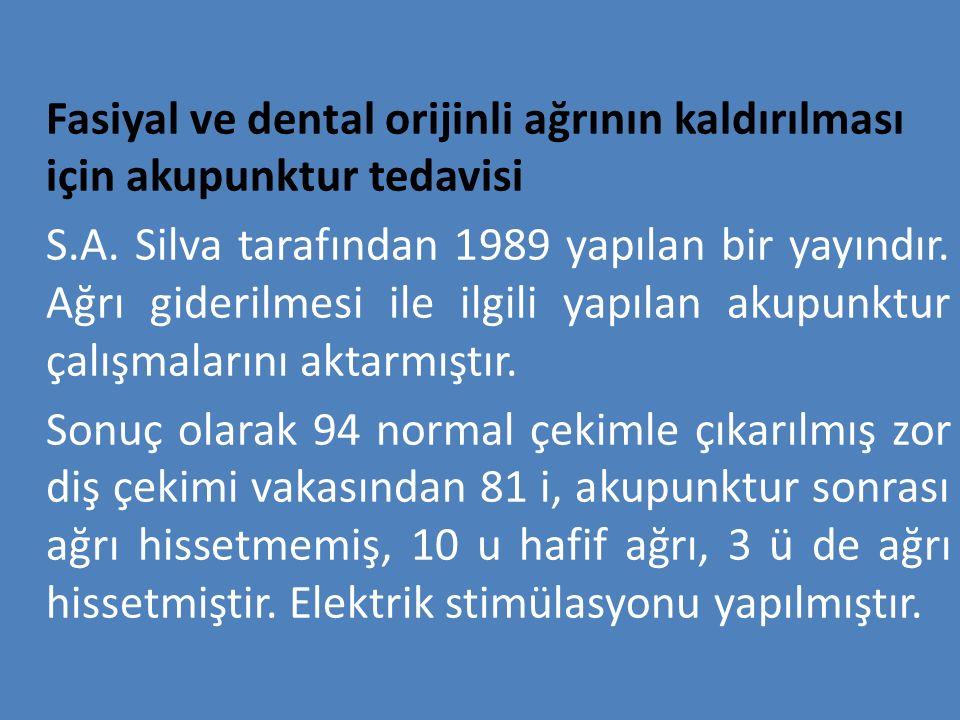 Fasiyal ve dental orijinli ağrının kaldırılması için akupunktur tedavisi S.A. Silva tarafından 1989 yapılan bir yayındır. Ağrı giderilmesi ile ilgili