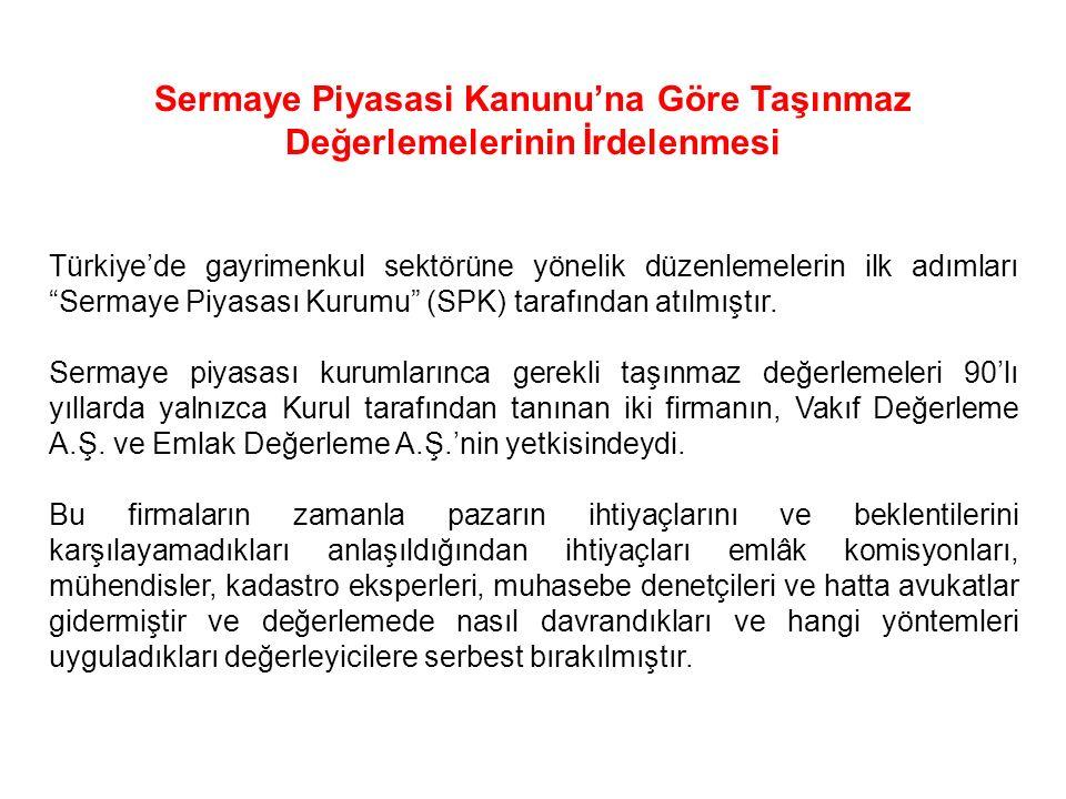 """Sermaye Piyasasi Kanunu'na Göre Taşınmaz Değerlemelerinin İrdelenmesi Türkiye'de gayrimenkul sektörüne yönelik düzenlemelerin ilk adımları """"Sermaye Pi"""