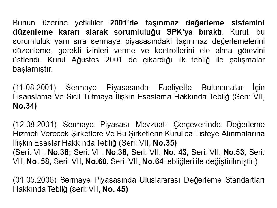 Bunun üzerine yetkililer 2001'de taşınmaz değerleme sistemini düzenleme kararı alarak sorumluluğu SPK'ya bıraktı. Kurul, bu sorumluluk yanı sıra serma