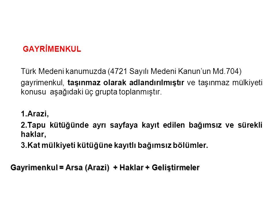 GAYRİMENKUL Türk Medeni kanumuzda (4721 Sayılı Medeni Kanun'un Md.704) gayrimenkul, taşınmaz olarak adlandırılmıştır ve taşınmaz mülkiyeti konusu aşağ