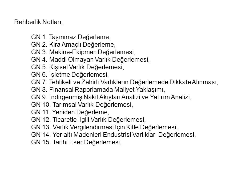 Rehberlik Notları, GN 1. Taşınmaz Değerleme, GN 2. Kira Amaçlı Değerleme, GN 3. Makine-Ekipman Değerlemesi, GN 4. Maddi Olmayan Varlık Değerlemesi, GN