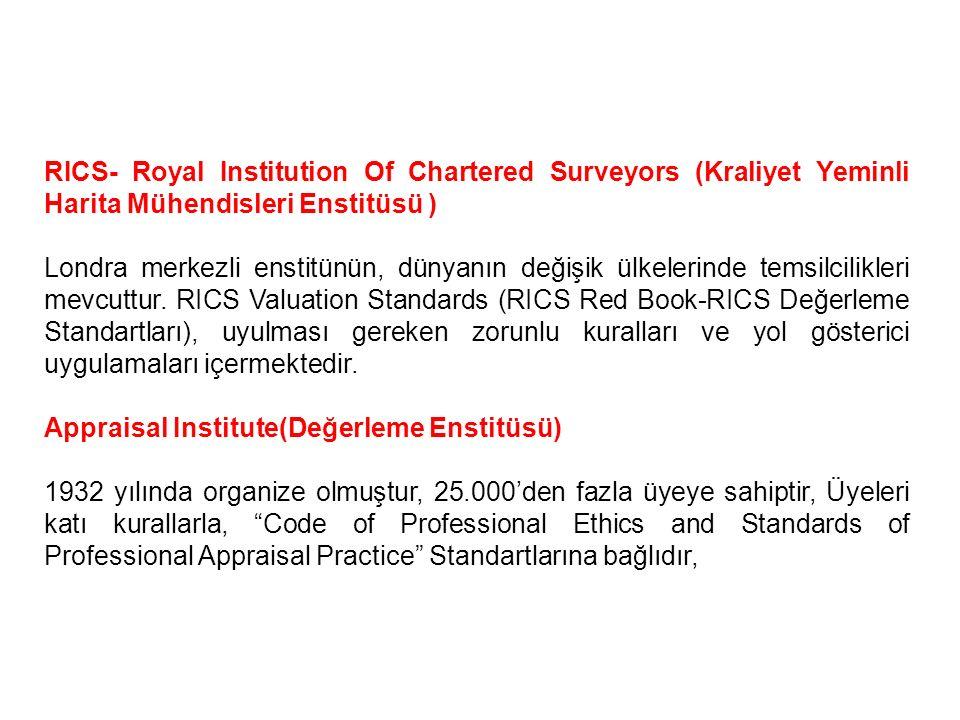 RICS- Royal Institution Of Chartered Surveyors (Kraliyet Yeminli Harita Mühendisleri Enstitüsü ) Londra merkezli enstitünün, dünyanın değişik ülkeleri