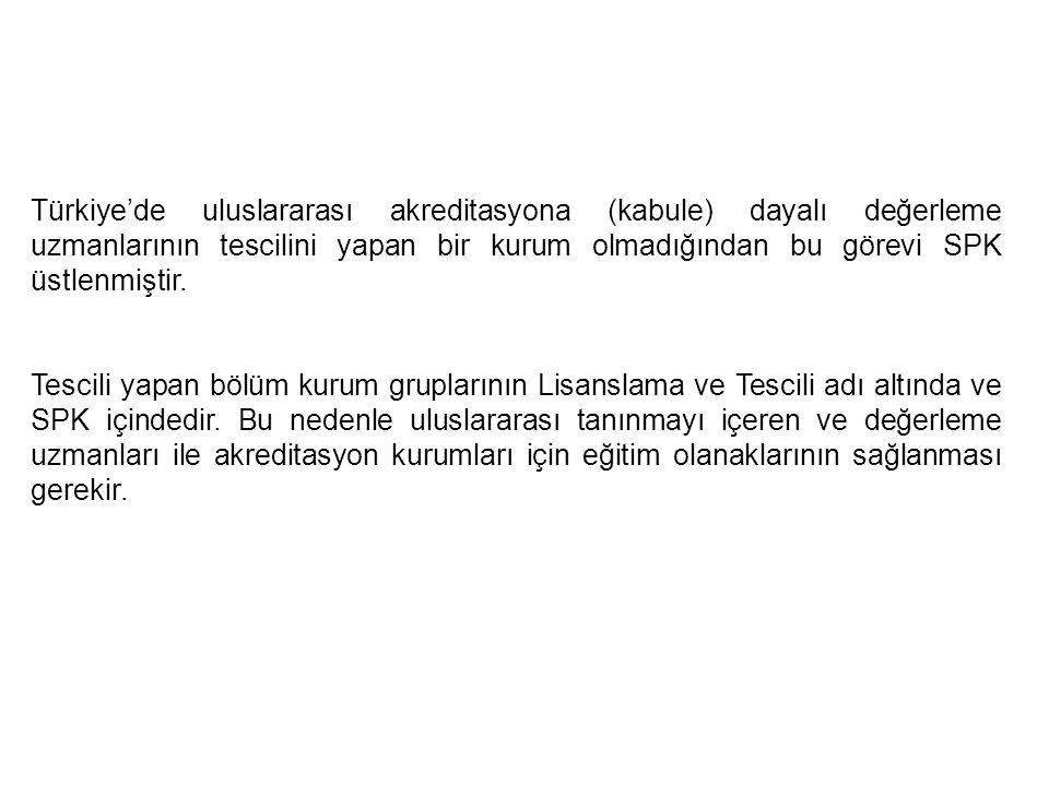 Türkiye'de uluslararası akreditasyona (kabule) dayalı değerleme uzmanlarının tescilini yapan bir kurum olmadığından bu görevi SPK üstlenmiştir. Tescil