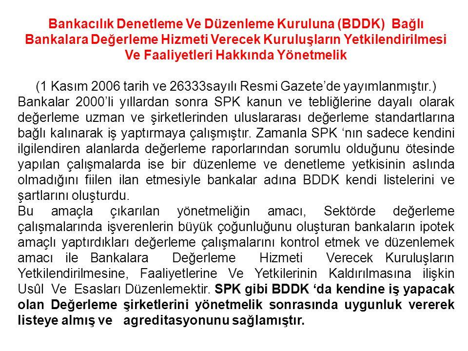 Bankacılık Denetleme Ve Düzenleme Kuruluna (BDDK) Bağlı Bankalara Değerleme Hizmeti Verecek Kuruluşların Yetkilendirilmesi Ve Faaliyetleri Hakkında Yö
