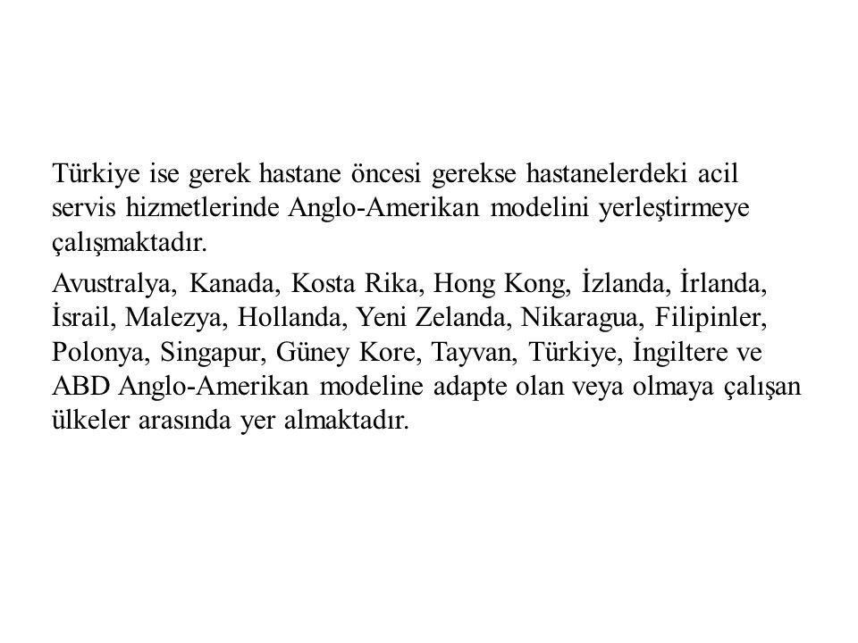 Türkiye ise gerek hastane öncesi gerekse hastanelerdeki acil servis hizmetlerinde Anglo-Amerikan modelini yerleştirmeye çalışmaktadır.